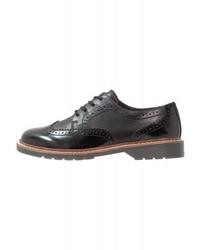 Chaussures brogues en cuir noires s.Oliver