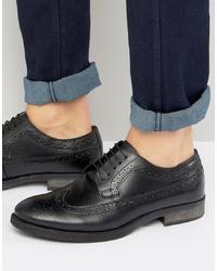 Chaussures brogues en cuir noires Silver Street