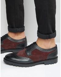 Chaussures brogues en cuir pourpre foncé
