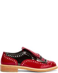 Chaussures brogues en cuir rouges