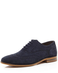 Chaussures brogues en daim bleu marine