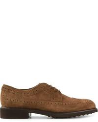 Chaussures brogues en daim brunes