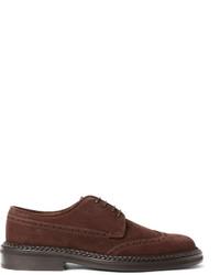 Chaussures brogues en daim marron foncé Etro