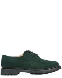 Chaussures brogues en daim vert foncé