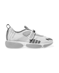 Chaussures de sport argentées Prada
