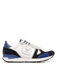 Chaussures de sport blanc et bleu marine Emporio Armani