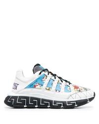 Chaussures de sport blanc et bleu Versace