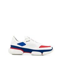 Chaussures de sport blanc et rouge et bleu marine Prada