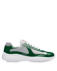 Chaussures de sport blanc et vert Prada