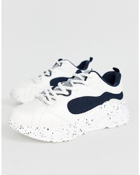 Chaussures de sport blanches et noires Bershka