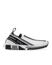 Chaussures de sport blanches et noires Dolce and Gabbana