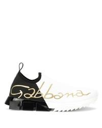 Chaussures de sport blanches et noires Dolce & Gabbana