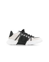Chaussures de sport blanches et noires Versace