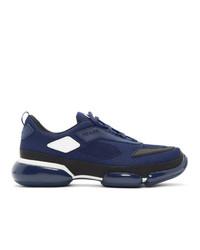 Chaussures de sport bleu marine Prada