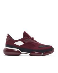 Chaussures de sport bordeaux Prada