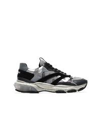 Chaussures de sport camouflage gris foncé Valentino