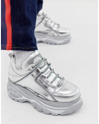 Chaussures de sport en cuir argentées Buffalo