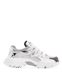 Chaussures de sport en cuir argentées Valentino