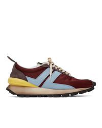 Chaussures de sport en cuir bordeaux Lanvin