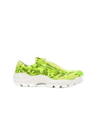 Chaussures de sport en cuir camouflage vertes Rombaut