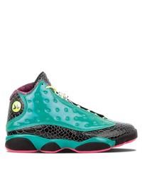Chaussures de sport en cuir imprimées bleu canard Jordan