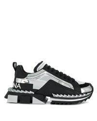 Chaussures de sport en cuir imprimées noires Dolce & Gabbana
