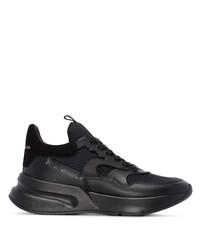 Chaussures de sport en cuir noires Alexander McQueen