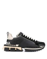 Chaussures de sport en cuir noires Dolce & Gabbana