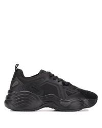 Chaussures de sport en cuir noires Emporio Armani