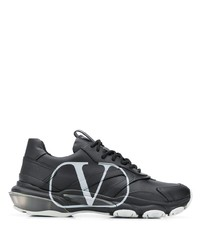 Chaussures de sport en cuir noires Valentino