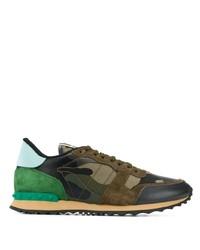 Chaussures de sport en daim camouflage olive Valentino