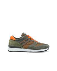 Chaussures de sport en daim olive Hogan