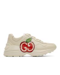 Chaussures de sport imprimées beiges Gucci