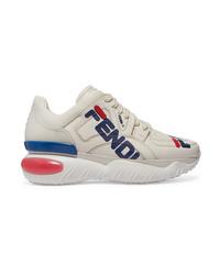 Chaussures de sport imprimées blanches Fendi
