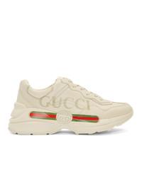 Chaussures de sport imprimées blanches Gucci