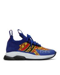 Chaussures de sport imprimées bleu marine Versace