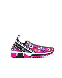Chaussures de sport imprimées fuchsia Dolce & Gabbana