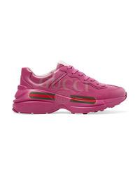 Chaussures de sport imprimées fuchsia Gucci