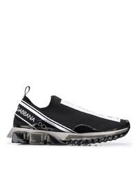 Chaussures de sport imprimées noires et blanches Dolce & Gabbana