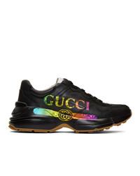 Chaussures de sport imprimées noires Gucci