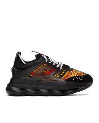 Chaussures de sport imprimées noires Versace