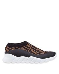 Chaussures de sport marron foncé Fendi
