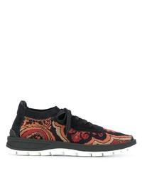 Chaussures de sport noir et orange Etro