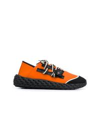 Chaussures de sport noir et orange Giuseppe Zanotti Design