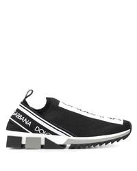 Chaussures de sport noires et blanches Dolce & Gabbana