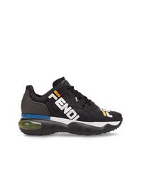 Chaussures de sport noires et blanches Fendi