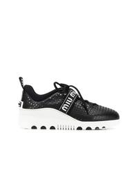 Chaussures de sport noires et blanches Miu Miu