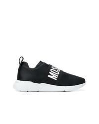 Chaussures de sport noires et blanches Moschino