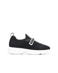 Chaussures de sport noires et blanches Prada