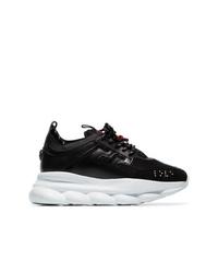 Chaussures de sport noires et blanches Versace